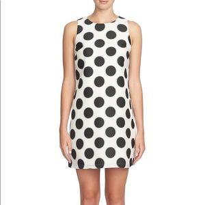 CeCe Polka Dot Jacquard A-Line Dress (Petite)